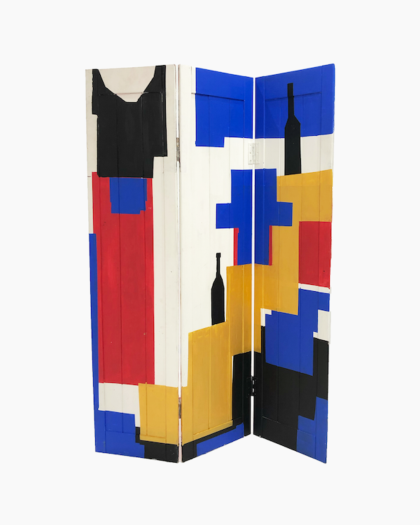 """The back of Ethan Reeves' screen """"3 Folds in 2 Wholes"""" made for Late Works ONE"""