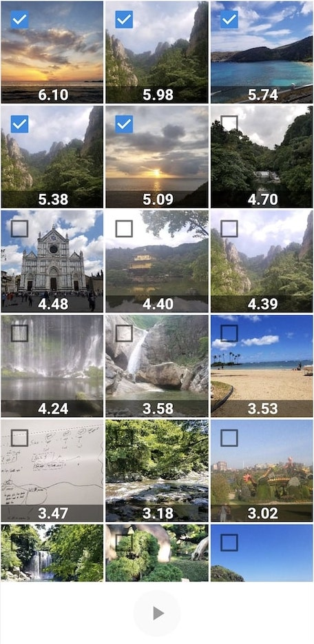 Image samples scored on visual quality