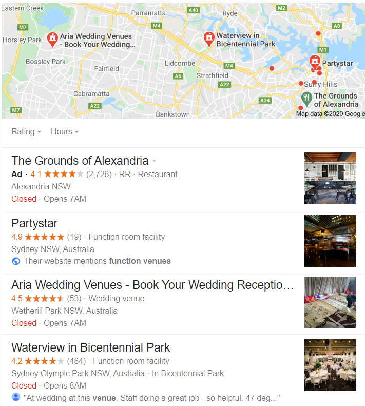 Google 3-Pack for function venues