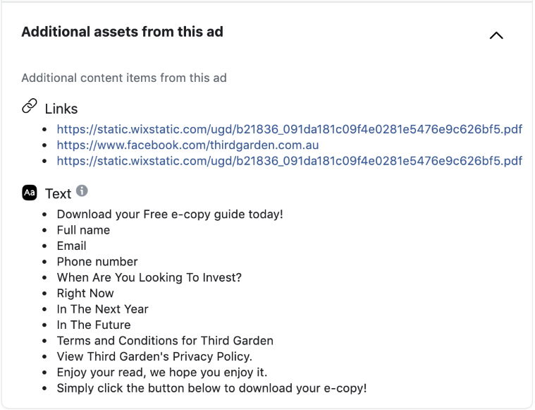 facebook ad library gives detailed ad info of your competitors
