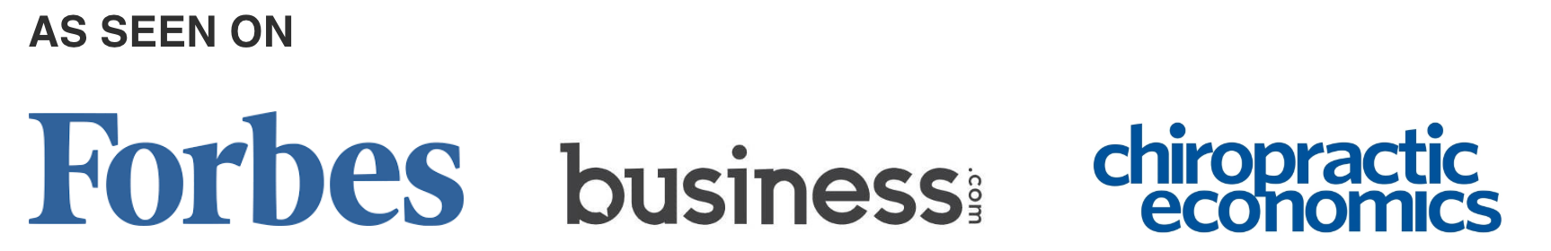 Forbes, Business.com, chiropractic economics logos