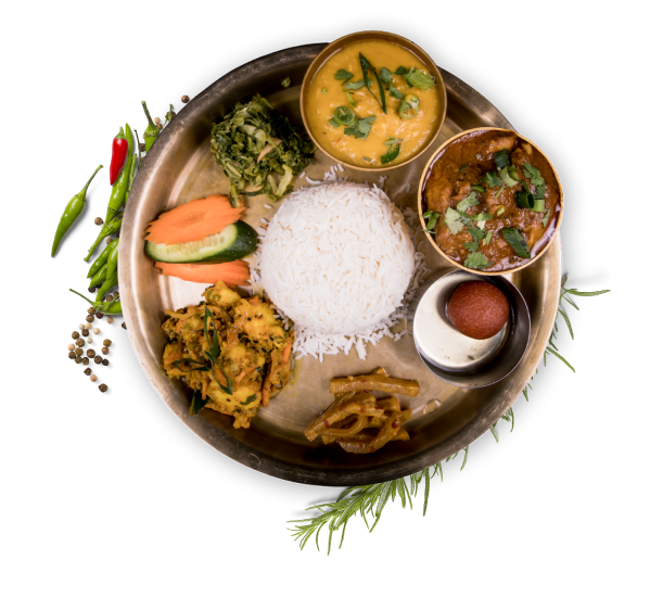 Nepalese rice thali - served with curry of your choice, lentil and side dishes