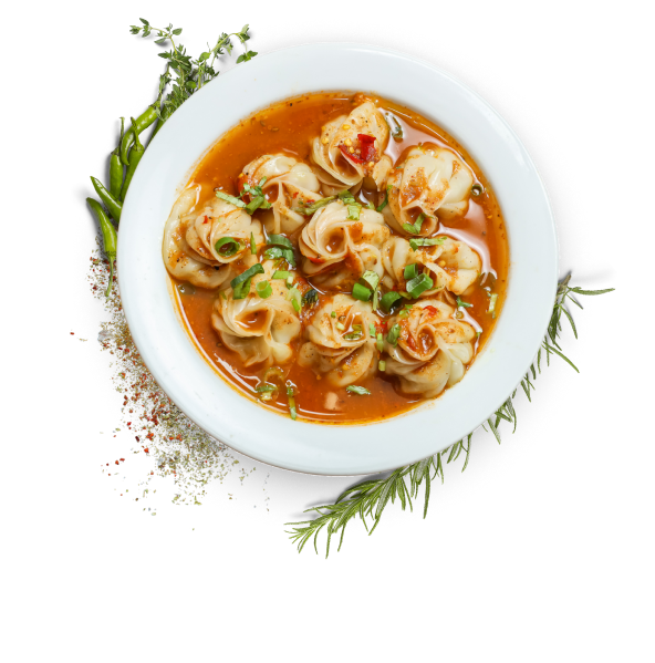 Nepalese kathmandu momo - steamed momo served in a spicy chefs special soup