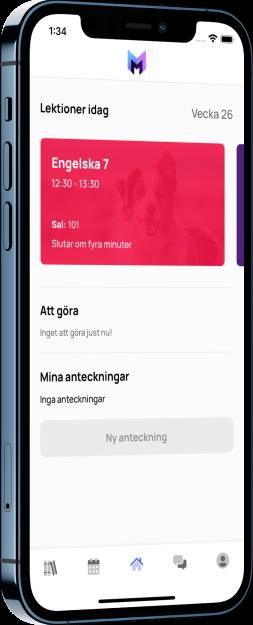 Meitner lärplattform i app - Användarvänlig hub