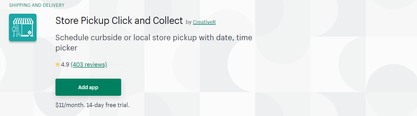 A screenshot of CreativeR`s Store Pickup Click and Collect app Shopify page.