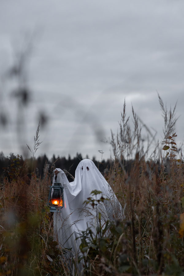 Ghost Walking Through Field