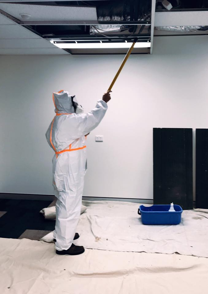 Wayne cleaning mould in a roof cavity in full PPE