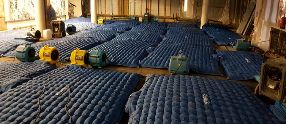 Large amounts of drying equipment being used in a large area