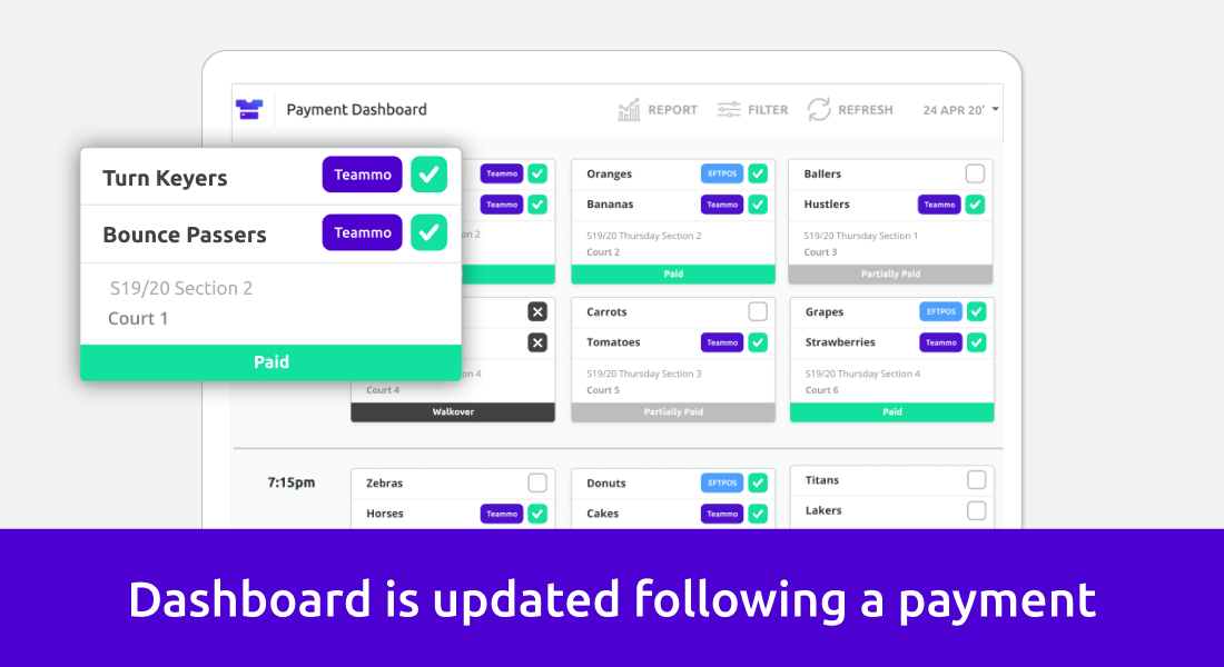 Screenshot showing association dashboard being updated when payments are made
