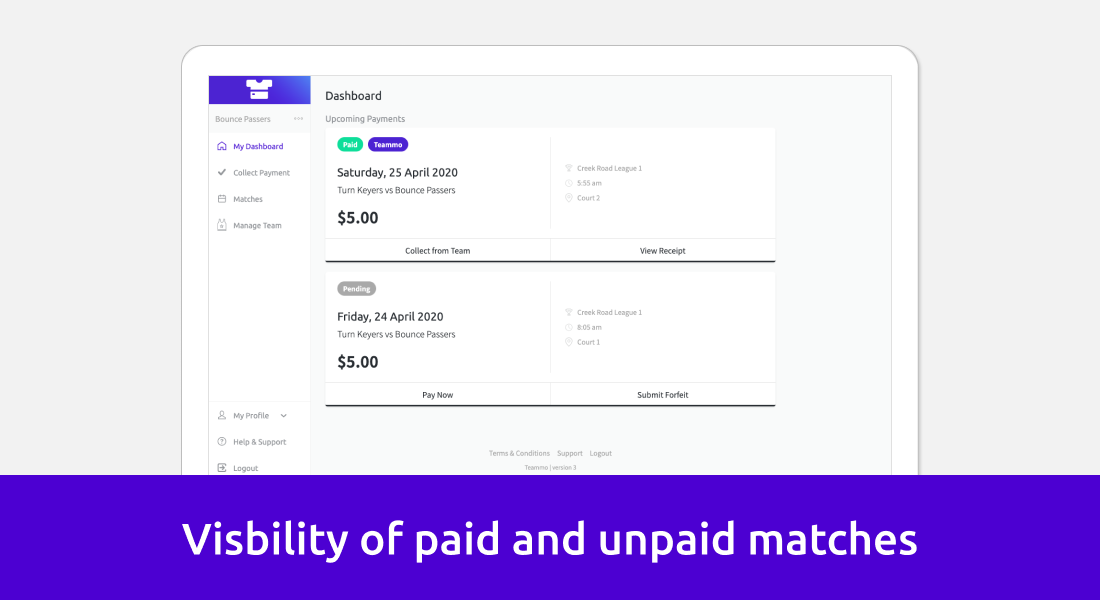 Screenshot of what team managers see when a match is paid for