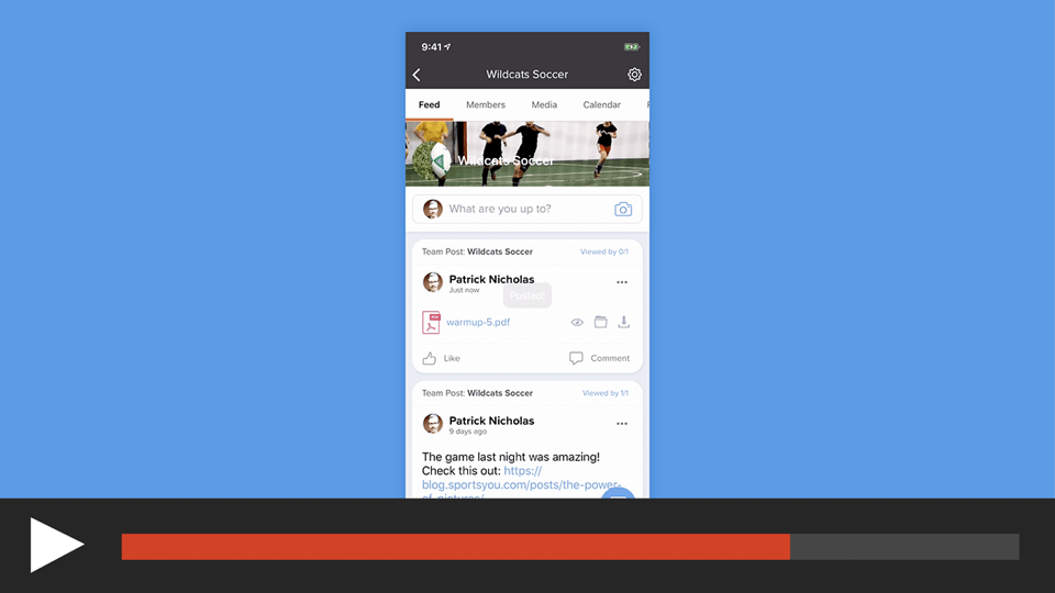 Post a File to a Team or Group in the sportsYou App