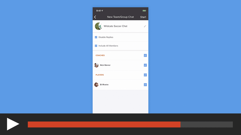 Create a Team or Group Chat in the sportsYou App