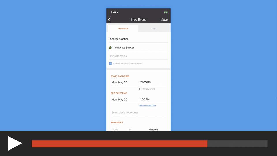 Create a Calendar Event in the App