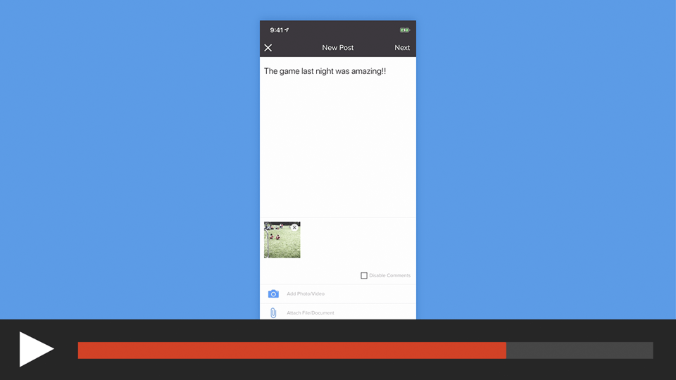 Post to a Feed in the sportsYou App