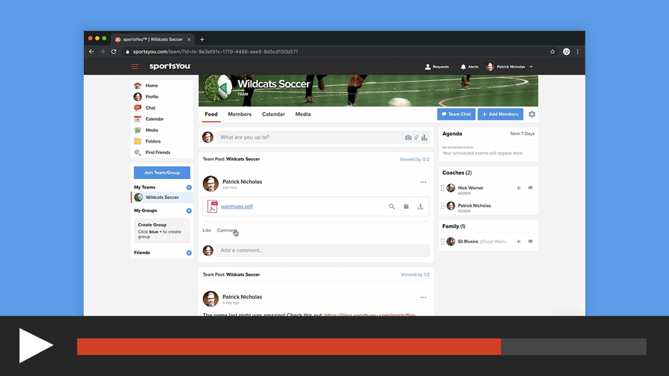 Post a File to a Team or Group on the sportsYou Website