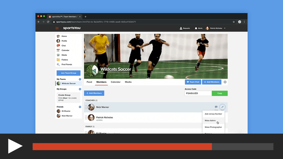 Make Team/Group Members an Admin or Photographer on the sportsYou Website