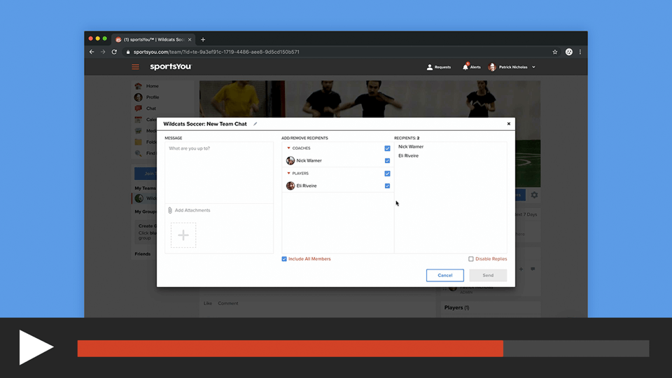 Create a Team or Group Chat on the sportsYou Website