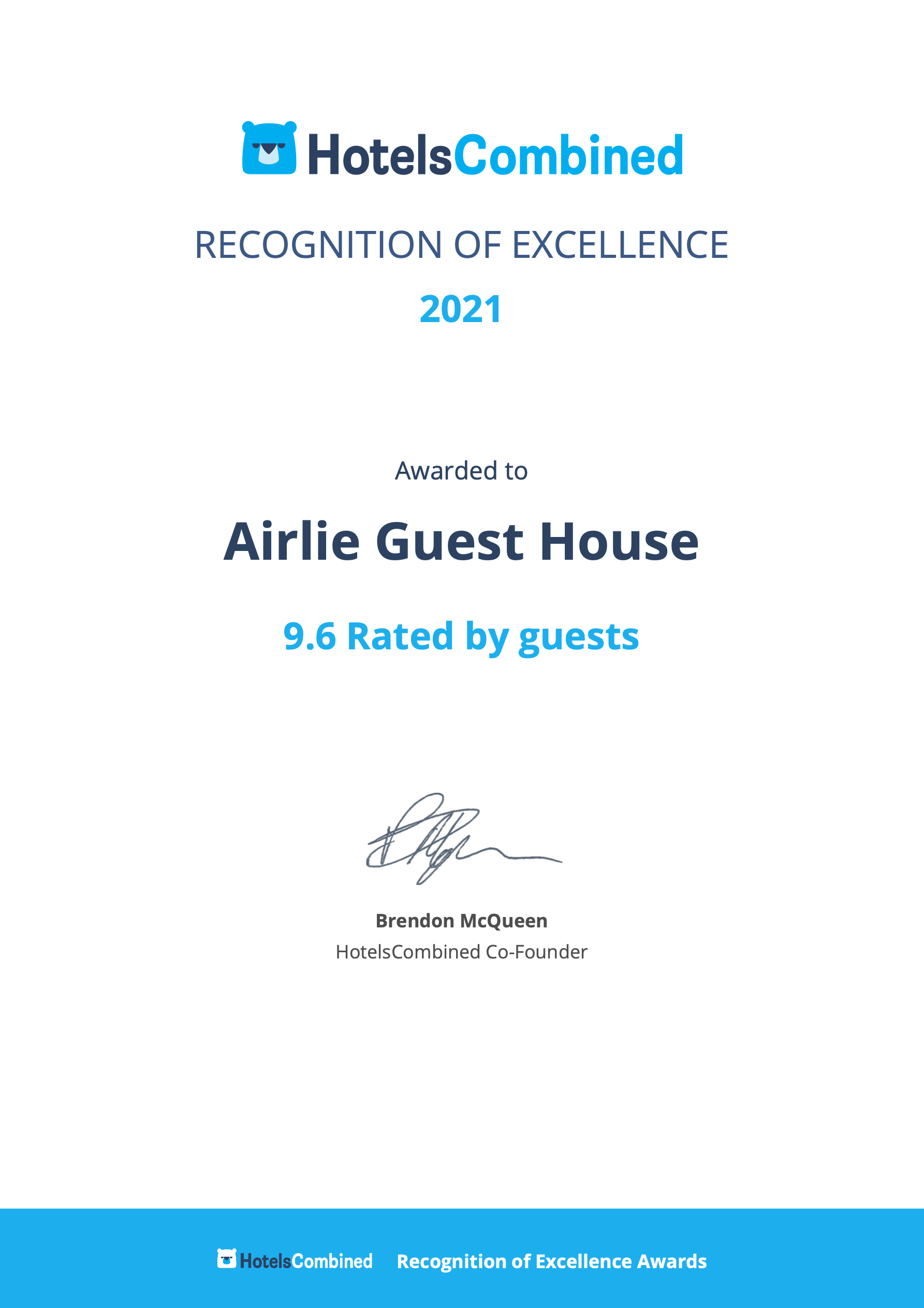 HotelsCombined Recognition of Excellence 2021