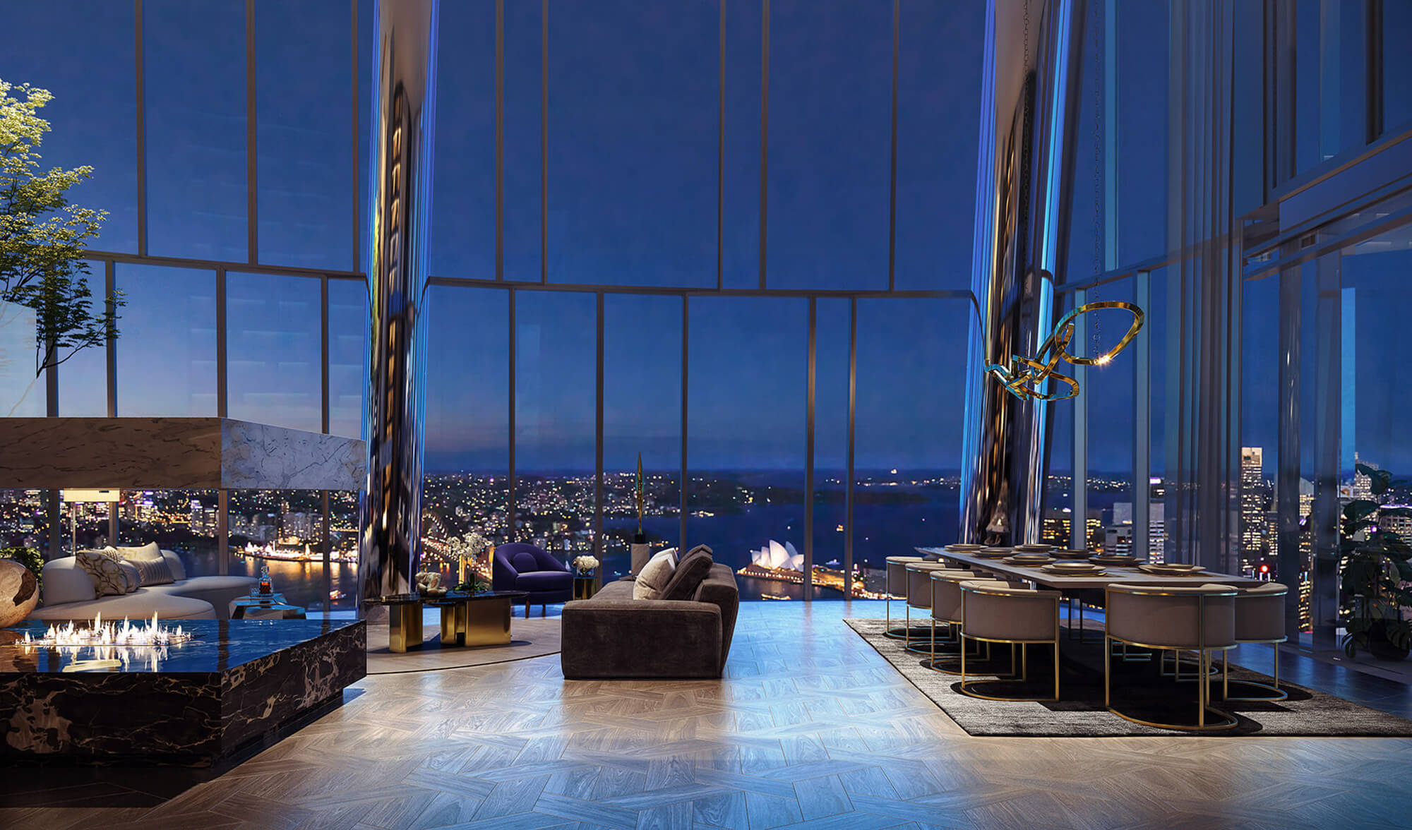 The interior design of Crown Residences with a view of Sydney Opera House.