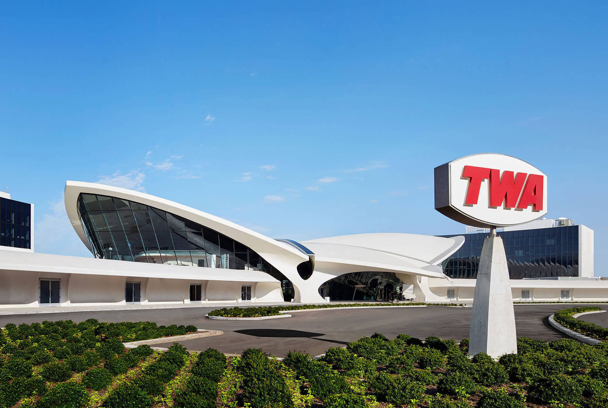 Front of the iconic TWA Flight Center, now the TWA Hotel.