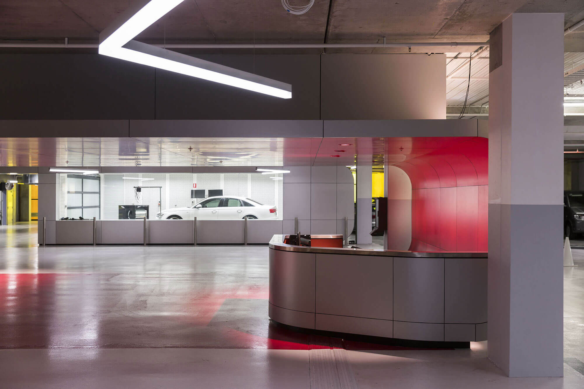 Sophisticated guest reception at Audi Sydney's service center.