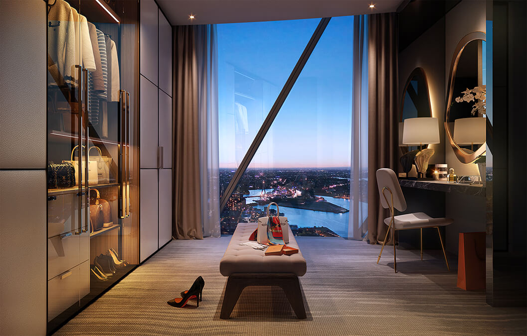 Interior design details of the luxury condos at Crown Residences.
