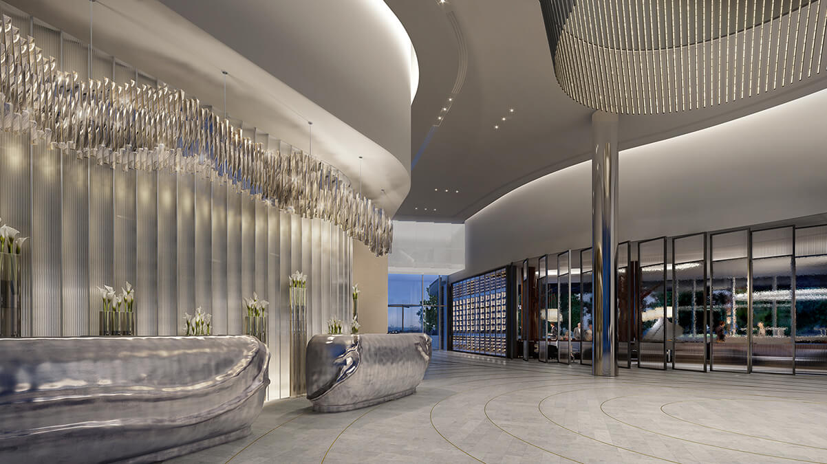 Luxury lobby entrance interior design at the Crown Towers.