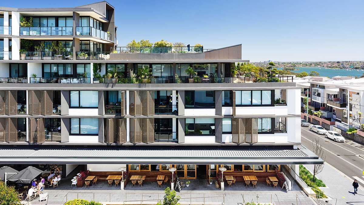 Architecture and interior design details of the multi-family dwelling, Union Balmain.