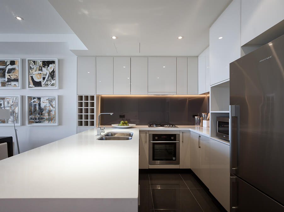 Architecture and interior design details of the multi-family dwelling, Emerald Park.