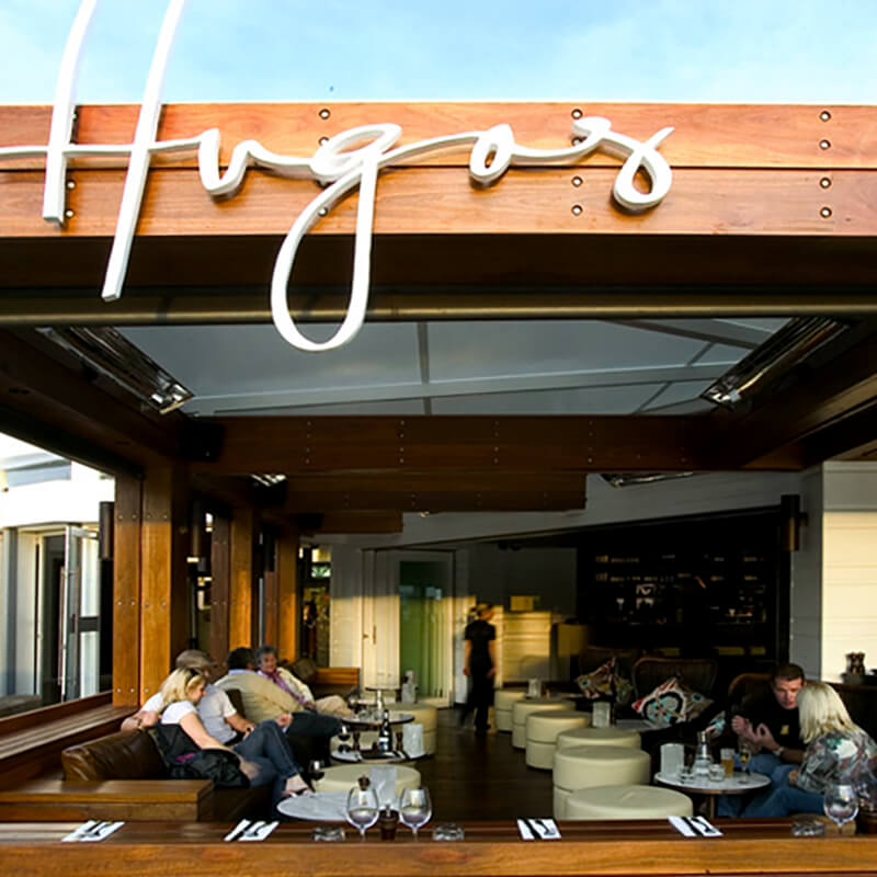 Interior design details of the Hugos on Manly Wharf.