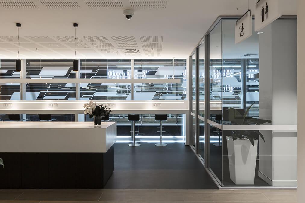 Interior design details of the Audi Service Center.