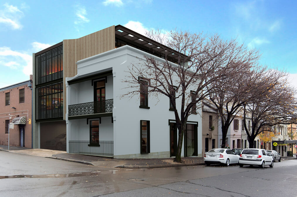 Converted historic terrace house into offices and retail space.