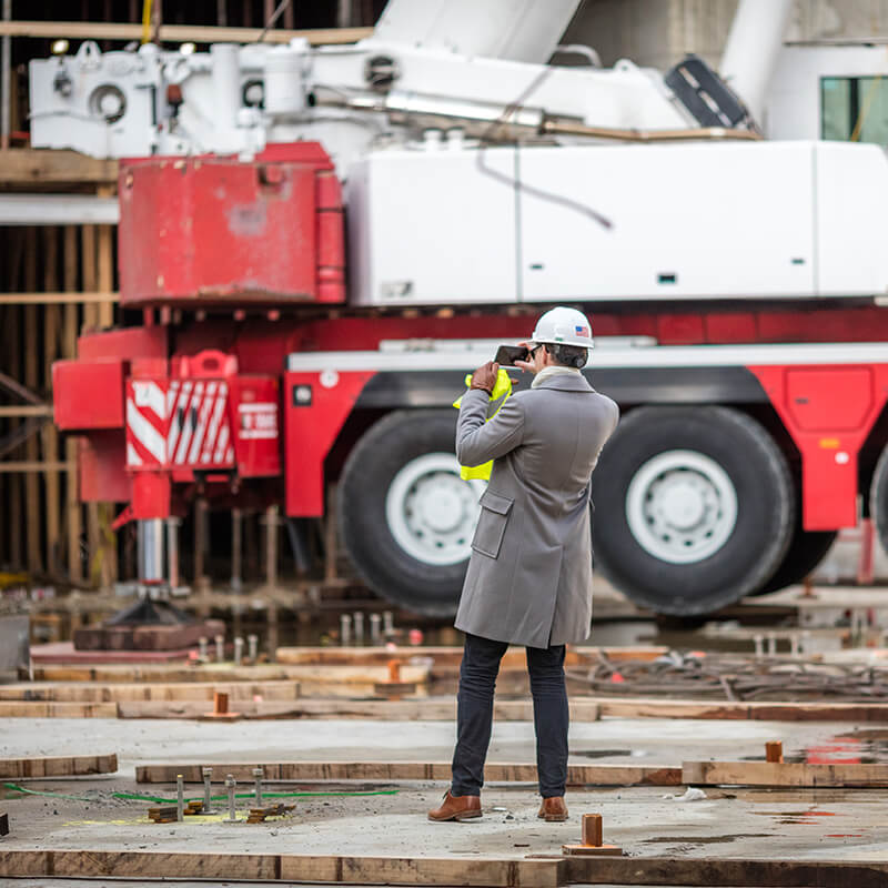 Christopher Solek at the TWA Hotel construction site.