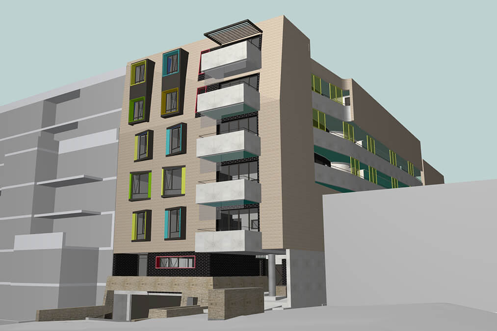 Architecture and interior design details of the multi-family dwelling, Arise Apartments.