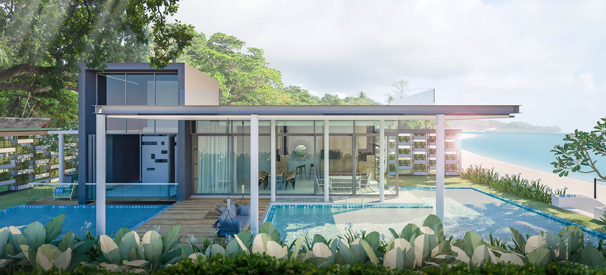 Caribbean style home open living footsteps from the white sand and aqua blue ocean.