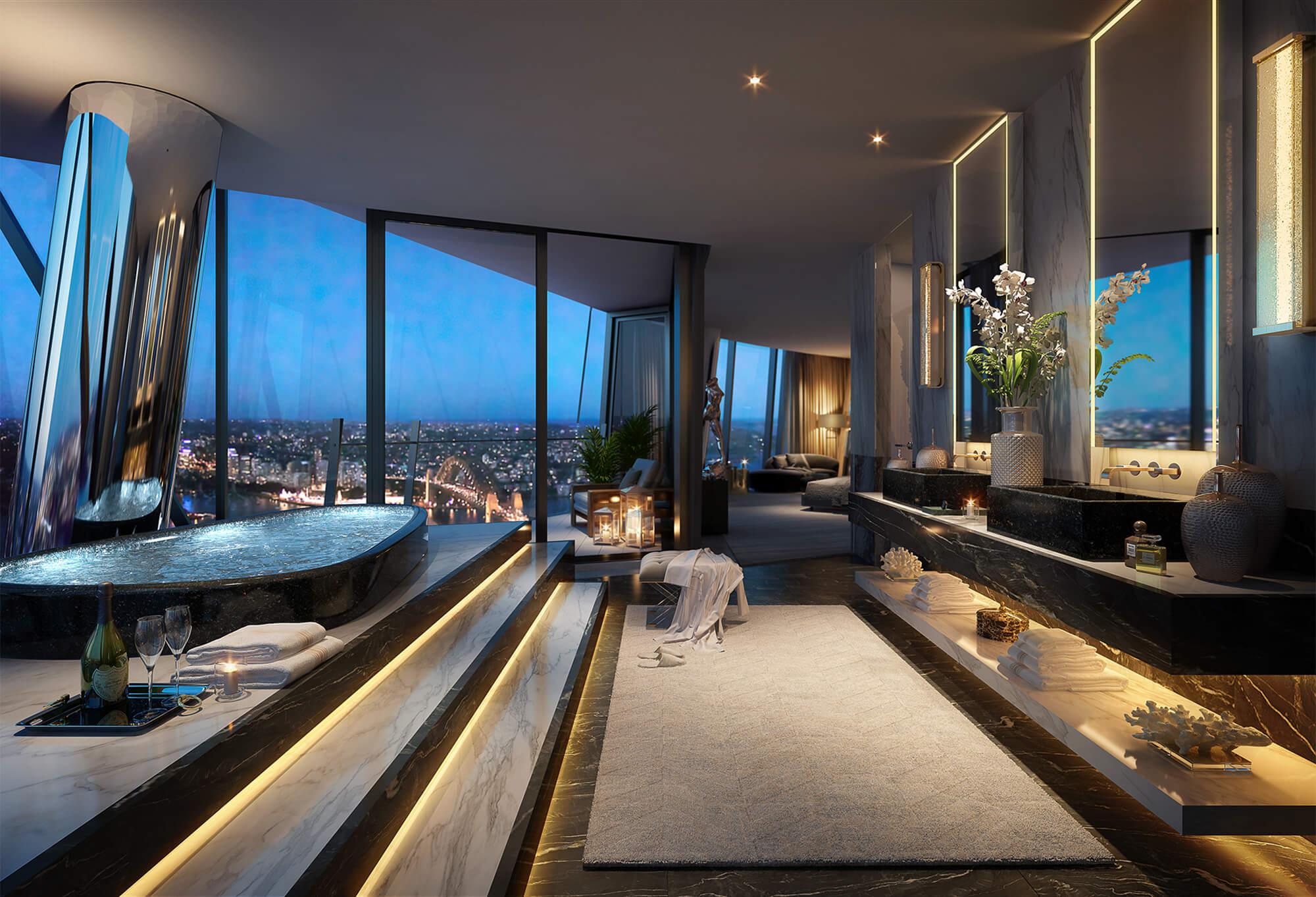 Luxury bathroom spa interior design at Crown Residences, Sydney.