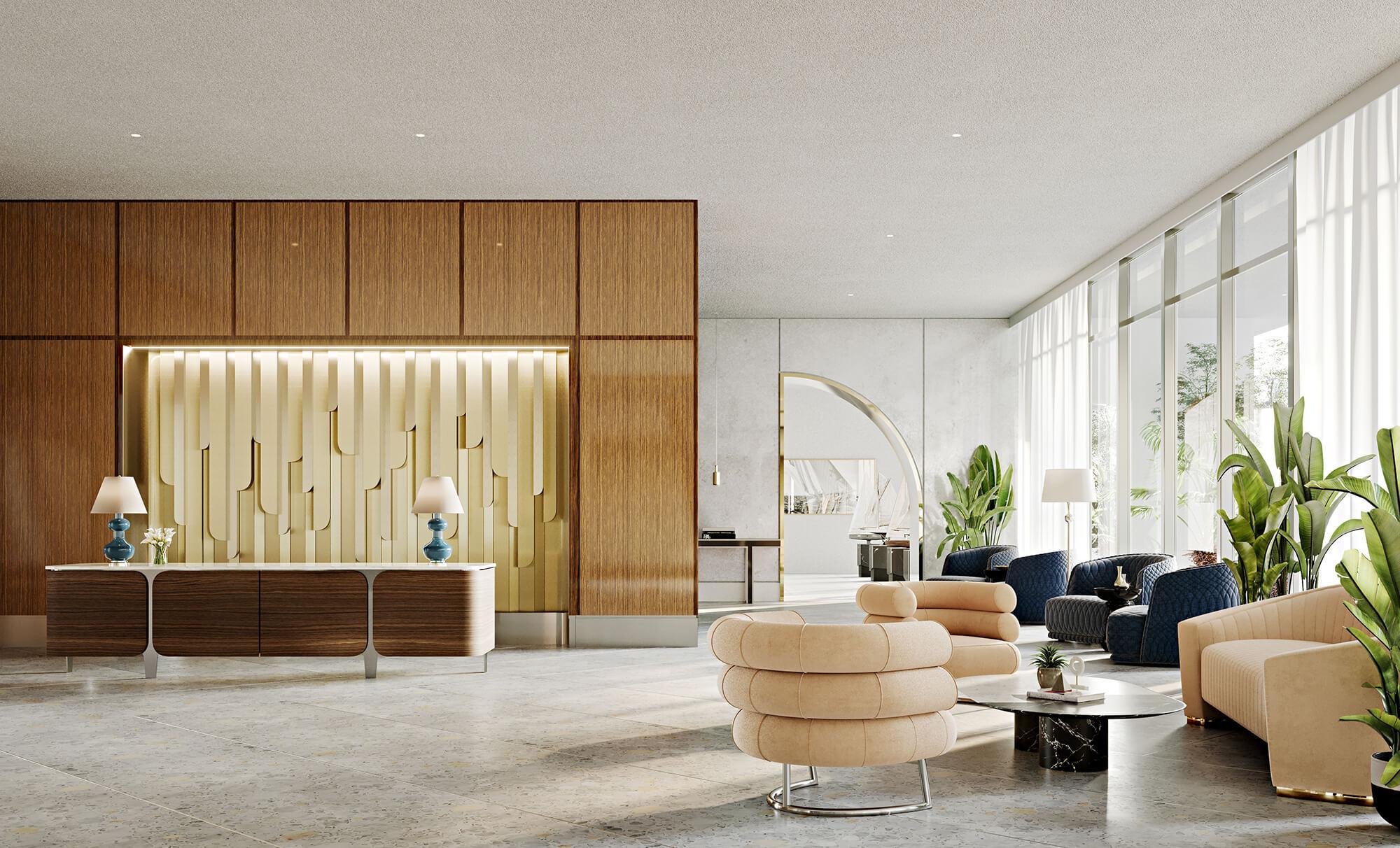 Luxury lobby entrance interior design at the Mr.C Residences Miami.
