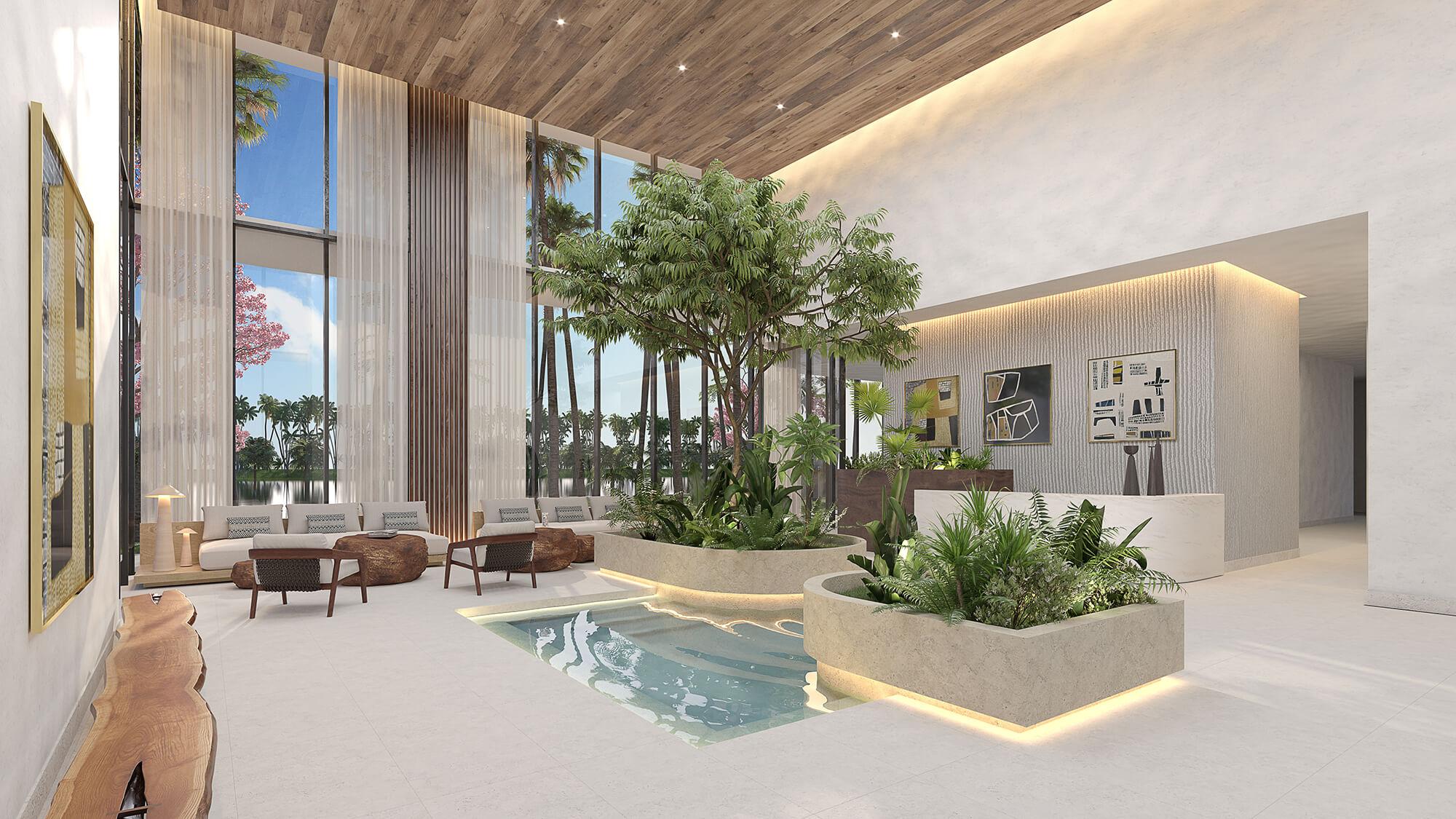 Luxury lobby interior design at the SLS Residences Cancun.