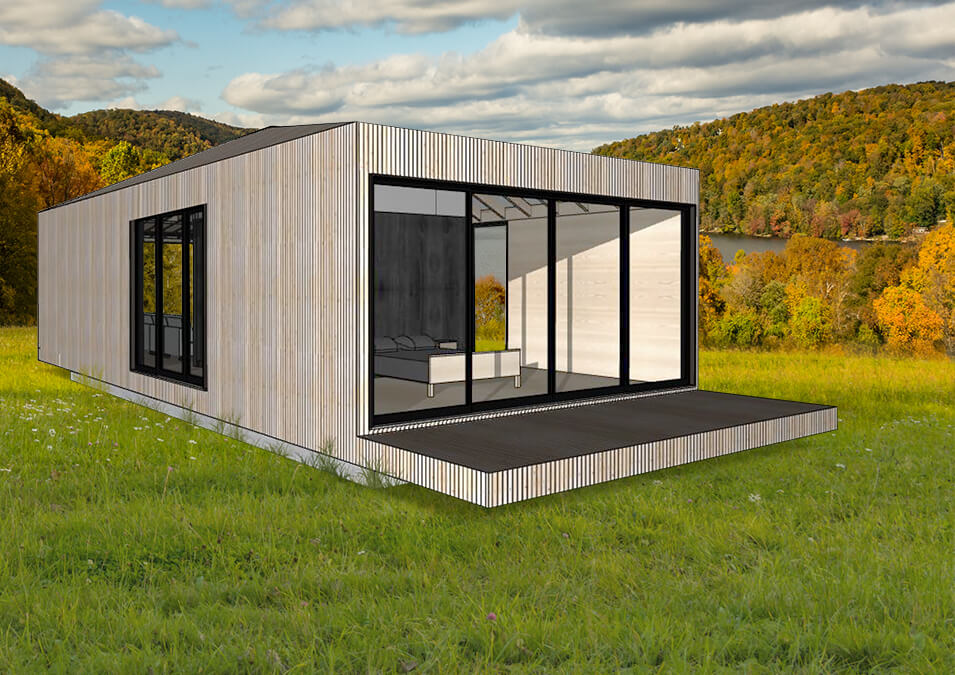 Modular Pod home sitting in a beautiful landscape.