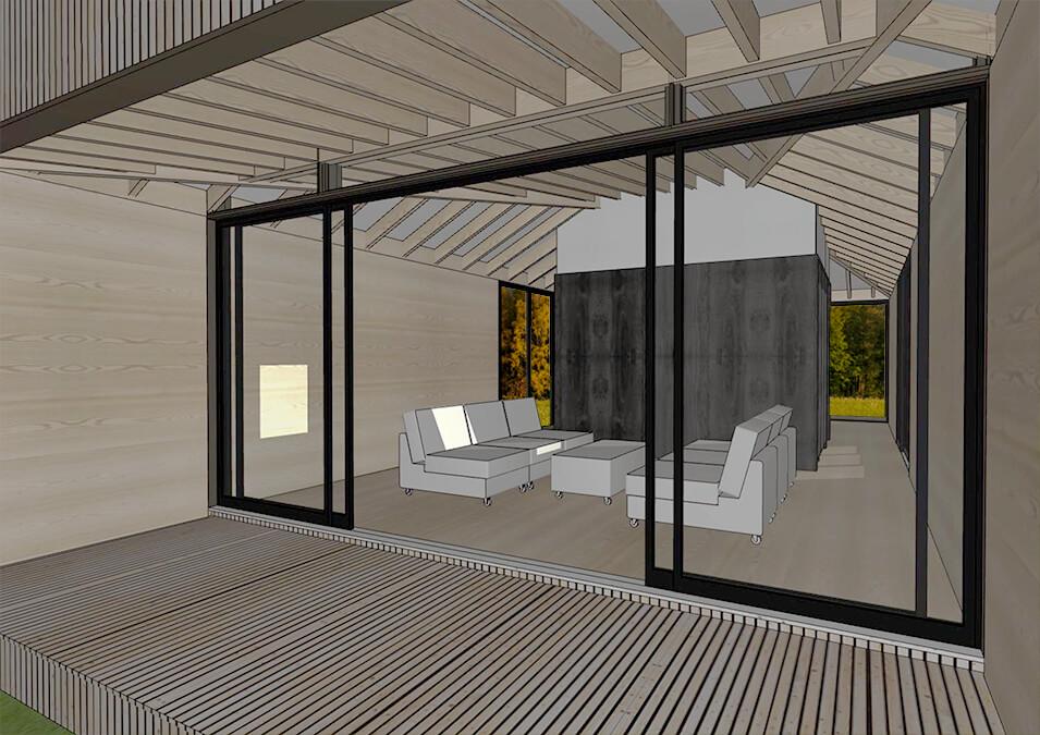 Interior design of the Modular Pod home.