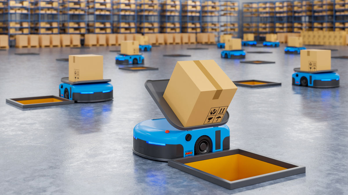 Army of robots efficiently sorting hundreds of boxes