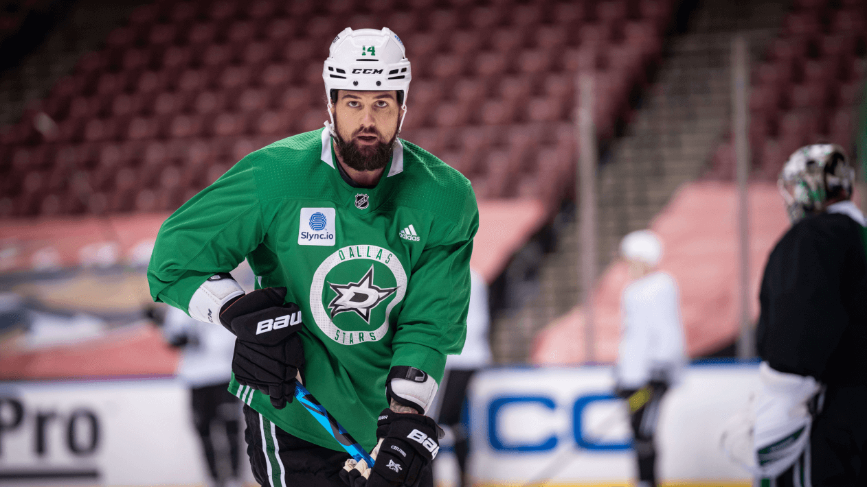 Captain of the Dallas Stars, Jamie Benn, gets focused during the team's daily practice sessions.