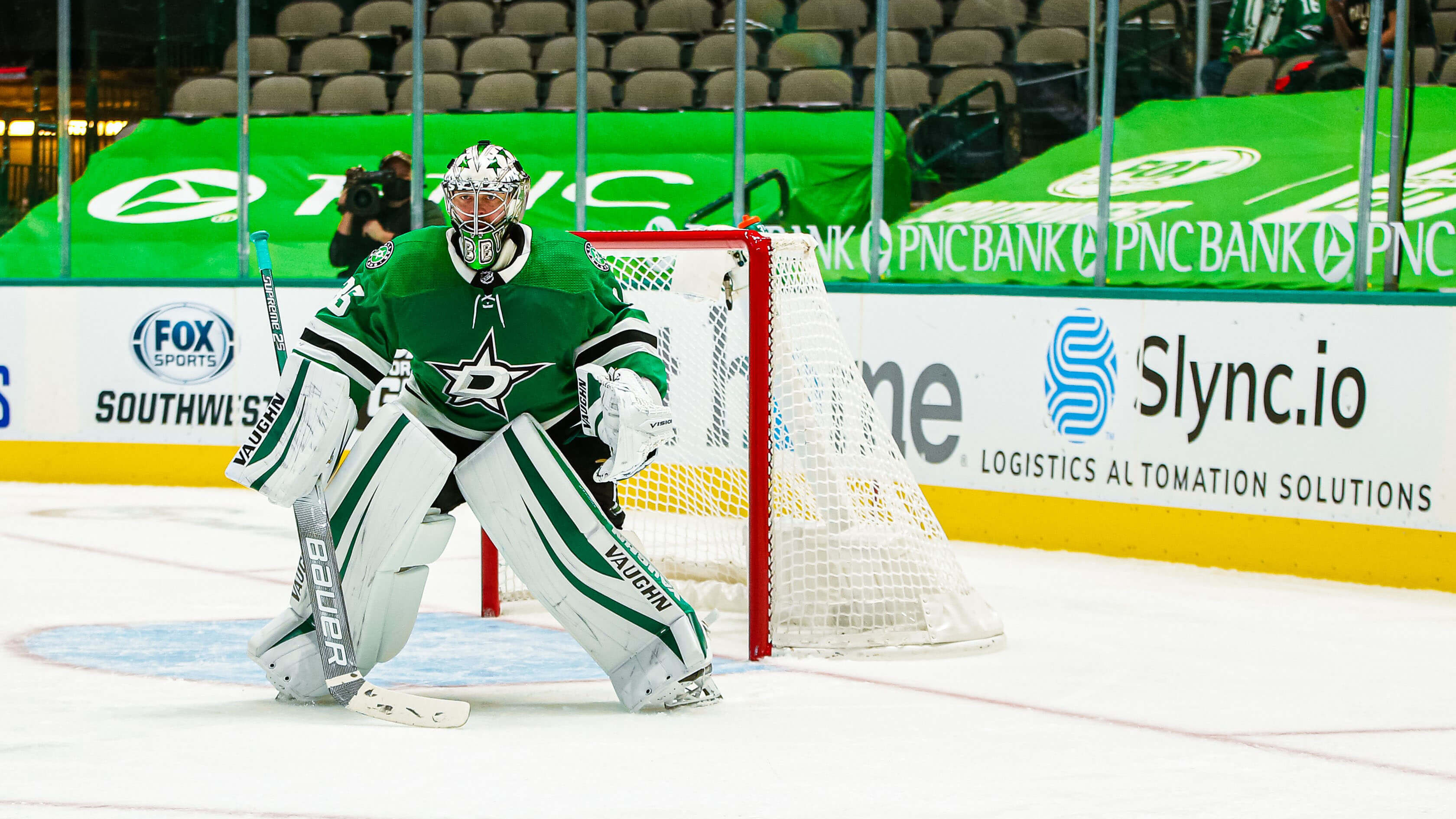 Anton Khudobin gets in goal to defend the net for the Dallas Stars, home and away.