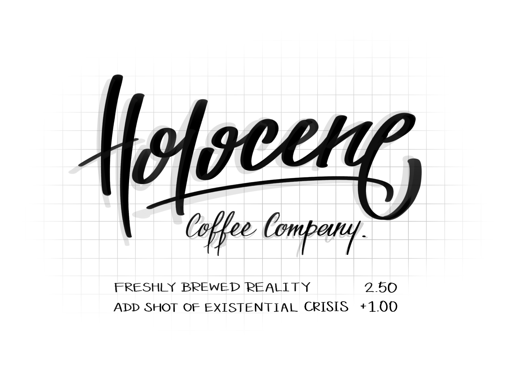 """Lettering illustration of the word """"Holocene"""" for an imaginary coffee company logo"""