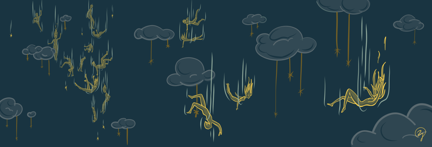 Illustration of human figures falling gracefully among fluffy clouds