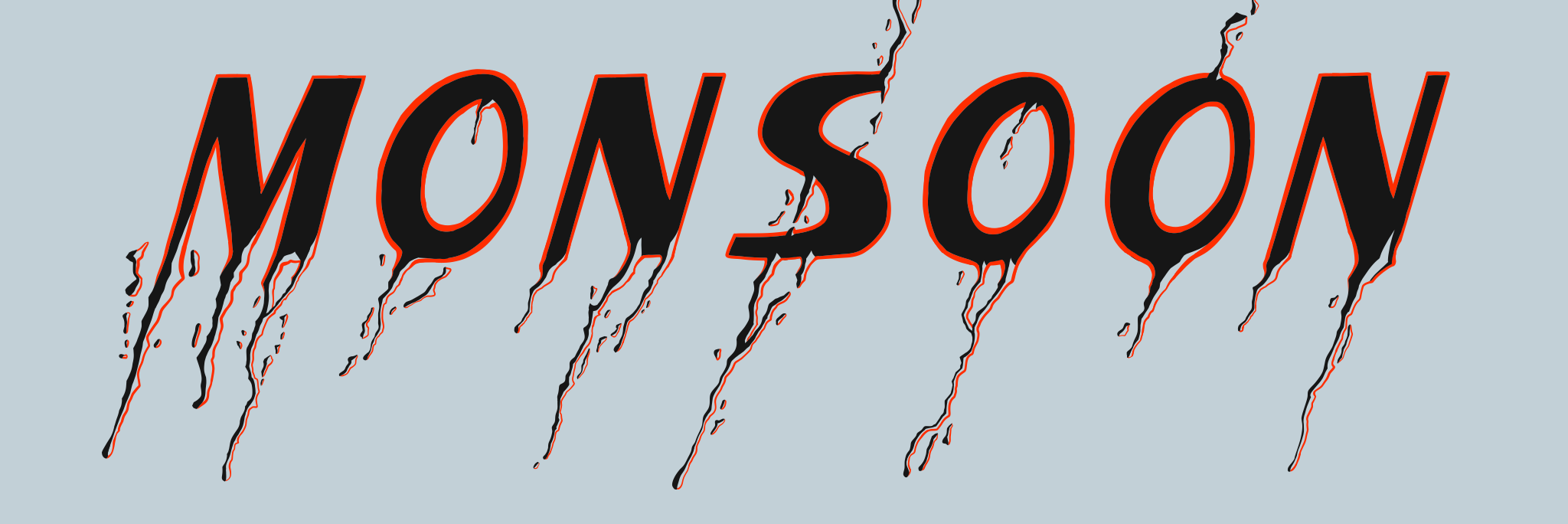 """Lettering illustration of the word """"monsoon"""" with raindrop effect"""