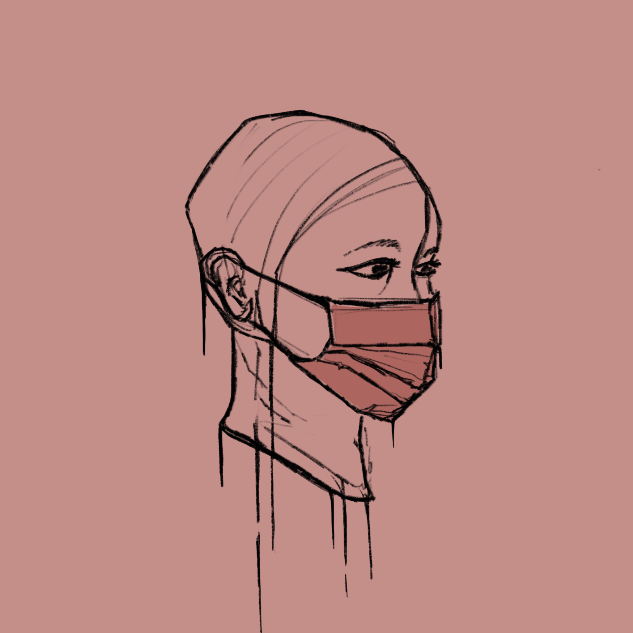 Illustration of a person's head with a mask on
