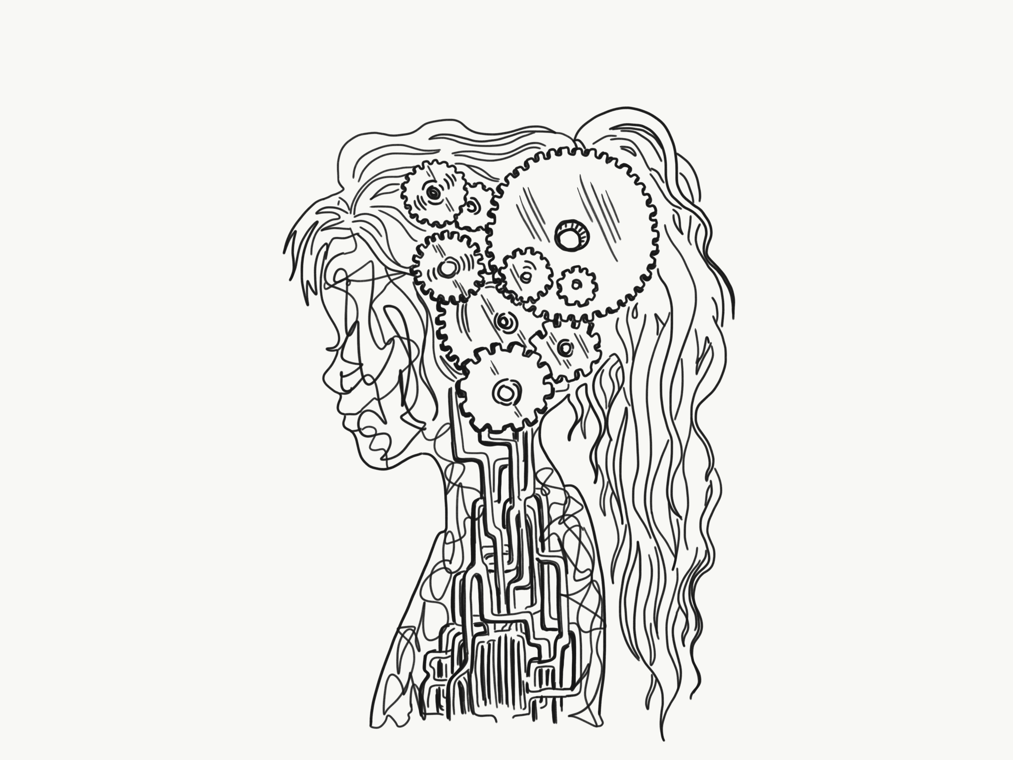 Illustration of a side-profile of a girl with gears where her brain is