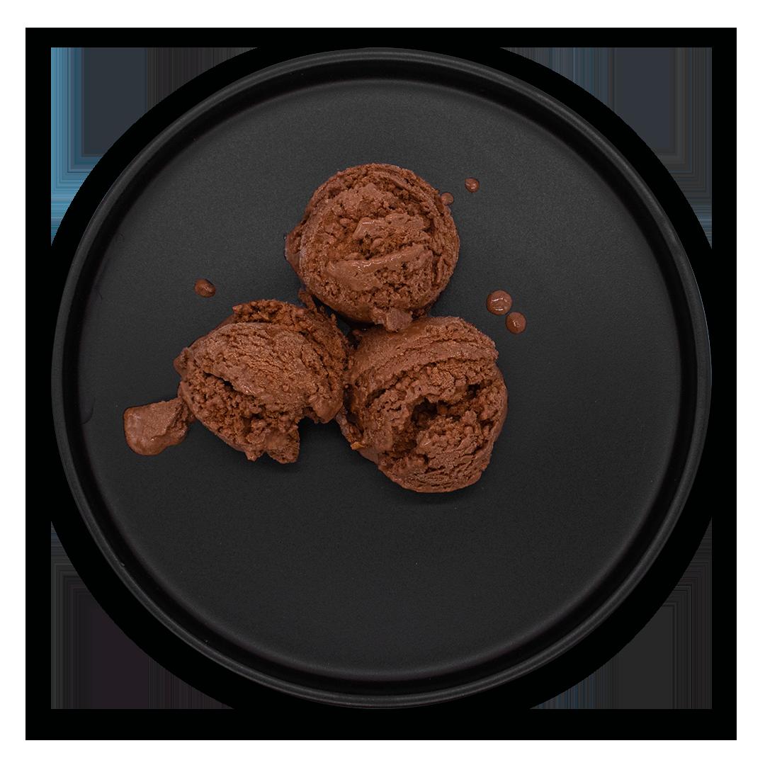 Xfrost Ice Cream on Black Plate,  Chocolate Ice Cream