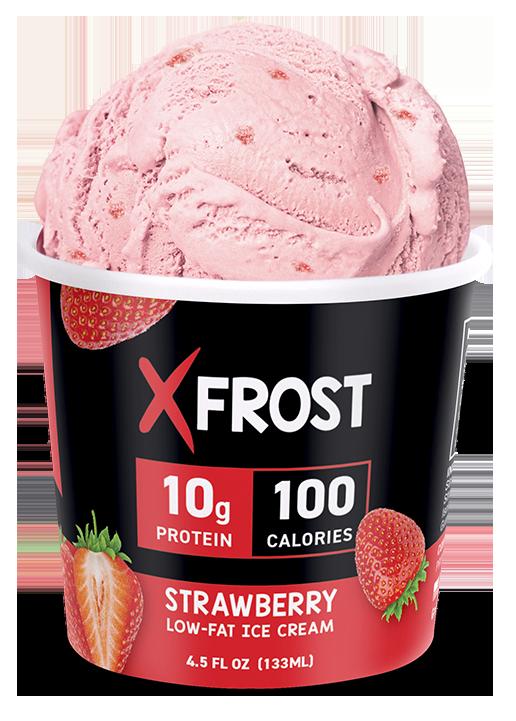 Xfrost Strawberry 4.5oz Ice Cream, High Protein Ice Cream, Lid Open